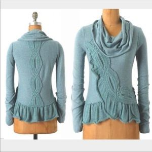 anthro Moth Switching Sides Blue Sweater Top